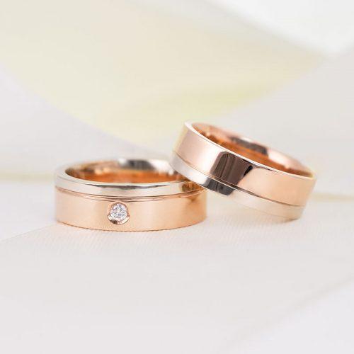 [:lt]Dviejų spalvų vestuviniai žiedai su briliantais[:en]Two colored wedding ring with diamond[:]