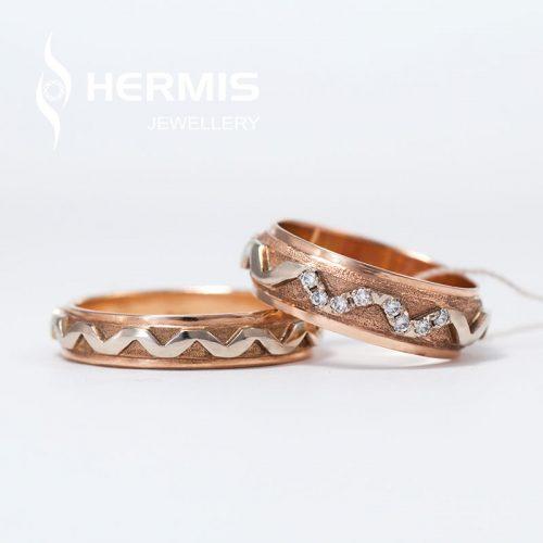 [:lt]Raudono aukso vestuvinis žiedas su briliantais[:en]Rose gold diamond wedding ring[:]
