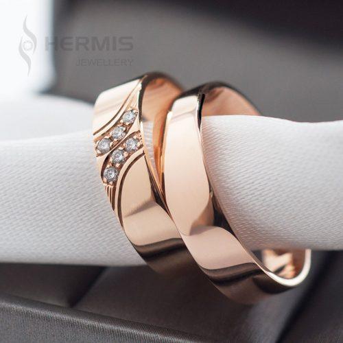 [:lt]Raudono aukso vestuviniai žiedai su briliantais[:en]Rose gold diamond wedding rings[:]
