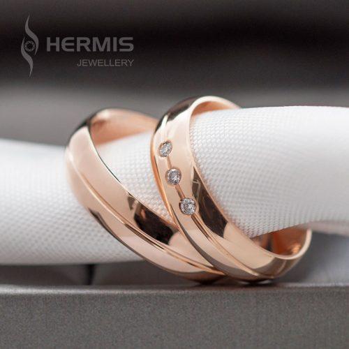 [:lt]Raudono aukso vestuviniai žiedai su briliantais griovelyje[:en]Rose gold wedding rings with grooves and diamonds[:]