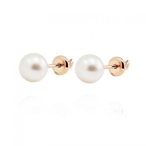 Auskarai su perlais ir užsukamu užsegimu