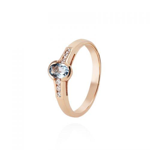 Raudono aukso žiedas su akvamarinu