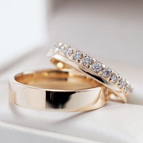 Siauri vestuviniai žiedai su briliantais V1130