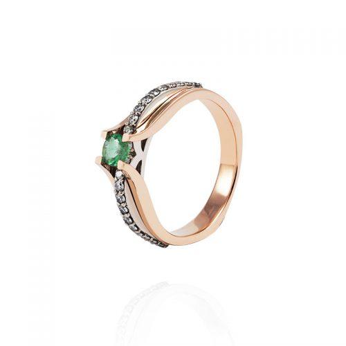 Unikalaus dizaino žiedas su natūraliu smaragdu
