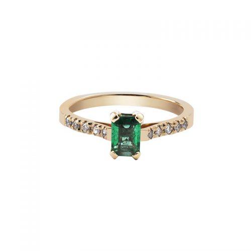 Auksinis žiedas su smaragdu ir briliantais